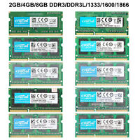 For Crucial 4GB/8GB PC3-12800S/10600S DDR3-1600Mhz/1333Mhz SODIMM Laptop RAM Lot