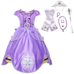 Princess Purple Sofia Costume Dress Party Kids Toddler For Girls Dress 10Pcs Set