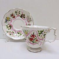 Royal Albert China TEACUP & SAUCER England Pink Ribbons/Flowers CANADA