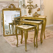 Shabby Cottage Chic Florentine Nesting Tables Gold Cream Italianate End Side