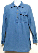 Newport News Jeanology Ladies Blue Denim Cotton 1/2 Button Shirt - Size 8