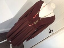 BIBA SIZE 14 Brown  CROCHET & BEADED ARABIAN NIGHT DRESS  £125 Needs Buttons