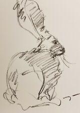 "JOSE TRUJILLO - Original Charcoal MODERN - Paper Sketch Drawing 9X12"" RABBIT"