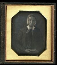 """1840's Daguerreotype Older Woman with Bonnet Holding Book, Cased 3x2 1/2"""""""
