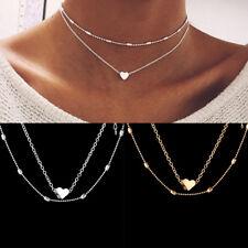 Moda Multicapa Choker Cadena Collar Colgante Amor Corazón Corto Mujer Joyería