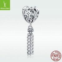 Tassel's Heart S925 Sterling Silver Charm Bead Dangle Pendant For Bracelet Chain