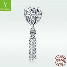 Tassel's Heart S925 Sterling Silver Charm Bead Dangle Pendant For Bracelet Chain