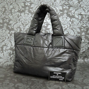CHANEL Coco Cocoon Nylon Quilted Padded Black Tote bag #2390 Rise-on
