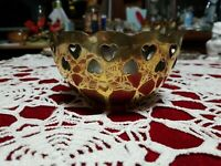 Round Brass Decorative Bowl With Heart Cutouts