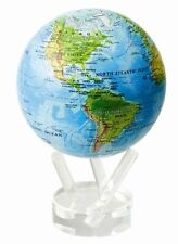 "MOVA Globes 4.5"" Blue Ocean Relief World Map. Matte Finish. Auto-Rotating Globe"
