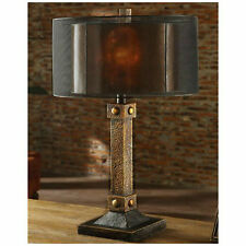 RICH COPPER BRONZE METAL FINISH TABLE LAMP OUTER SCREEN SHADE & MICA INNER
