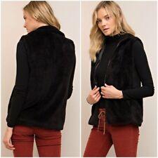 Medium Vest Fleece Faux Fur Black Fuzzy Zip Front Plush Sleeveless Jacket NEW M