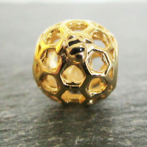 Gold Plated .925 STERLING SILVER & Enamel Honey Comb Bee European CHARM BEAD