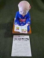 Hakata Doll,GIRL KNEELING TO READ/PRAY Japanese Hakata Assoc. Sticker, WITH CARD