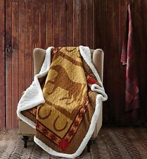 COUNTRY WESTERN SHERPA HORSE THROW : COWBOY HORSESHOE BROWN SOUTHWESTERN BLANKET