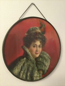 """Antique Victorian Chimney Flue Cover Red Background french lady In Fur Coat 9.5"""""""