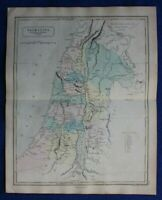 ANCIENT PALESTINE, 12 TRIBES OF ISRAEL, original antique map, Butler, Hall, 1861