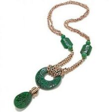 """Statements by Amy Kahn Russell Bronze Carved Gemstone 30"""" Necklace"""