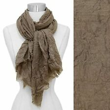 Scarf Taupe Crinkled Frayed Edge Fringe Soft Wrap Fashion Accessory