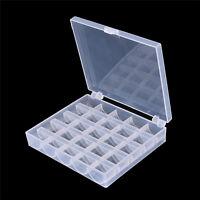 25 Cell Empty Bobbins Spools Box Sewing Machine Bobbin Case Organizer Storage WB