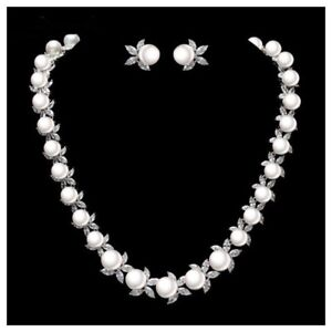 The Elizaveta Necklace Made Using Swarovski Crystals & Faux Pearl $488 S10