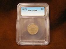 1872 Shield Nickel 5c ICG VF-20