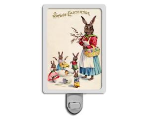 Joyous Eastertide Funny Easter Bunny Rabbits Dressed Up Spring Night Light