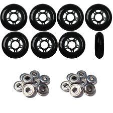 Inline Skate Wheels 76mm 82A Black Outdoor Roller Hockey 8 Pack -Abec 9 Bearings