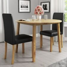 Set with Round Drop Leaf Dining Table & 2 Black Faux Leather Chairs