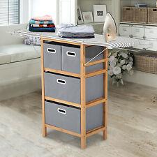 HOMCOM Bamboo Ironing Board & Shelving Unit Drop Leaf Closet w/ Storage Boxes