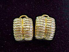 Fine Baguette Diamond Yellow Gold Huggie Earrings 19mm 2.00Ct