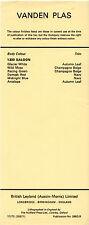 Vanden Plas Princess 1300 Colour & Trim Combinations UK Single Sheet Brochure