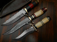 LOT OF 3 CUSTOM HANDMADE DAMASCUS HUNTING TRACKER BEAR SKINNER KNIVES - 17
