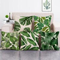 Grüne tropische Pflanzen Palme Blätter Leinen Kissenbezug Kissenhülle 45*45 I3P0