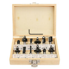 12Pcs 8mm Router Bit Set Shank Tungsten Carbide Rotary Tool With Wood Case Box