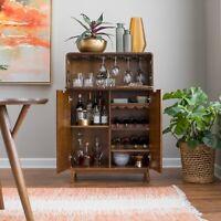Mini Bar Liquor Cabinet Mid Century Modern Wine Rack Storage Dining Furniture