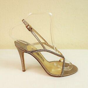 Gina Astor Size UK 5½ High Heel Strappy Slingback Sandal Shoe Diamante Champagne