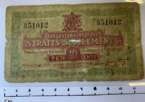 Straits Settlements (SINGAPORE) 1919 Ten Cents Emergency Issue Note - Good(USED)
