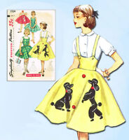 1950s Vintage Simplicity Sewing Pattern 1704 Easy Little Girls Poodle Skirt Sz 7