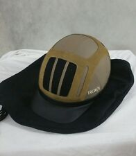 Troxel Riding Helmet Tan Leather Flipfold Large New With Cloth Carry Cover