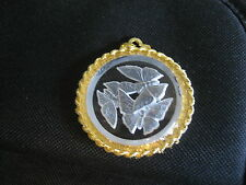 BUTTERFLY Vintage glass intaglio West German Crystal reverse carved pendant