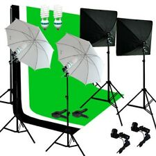 Studio Photo Photography Video Lighting and Background Kit W/ Muslin Backdrop