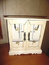 ANTIQUE JEWELRY BOX MUSICAL WITH GLASS DOORS WHITE & GOLD
