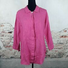 Hot Cotton Wms Sz L Solid Pink 100% Linen Long Sleeve Button Down Tunic Top