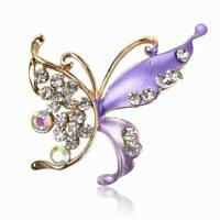 UK Beautiful Gold plated crystal butterfly Purple Brooch Hijab Pin Gift 7031