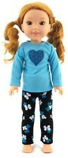 "Blue Top & Flower Leggings fits 14.5"" American Girl Wellie Wishers Doll Clothes"