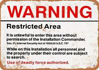 Warning Restricted Area Metal Tin Signs Poster Pub Bar Art Wall Hanging
