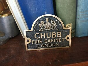 Vintage Original Old CHUBB Brass Safe Plate Fire Cabinet Plate