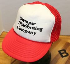 VINTAGE OLYMPIC DISTRIBUTING COMPANY TRUCKERS HAT RED/WHITE SNAPBACK VGC B