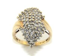 Ladies/womens stunning 9ct gold ring set with a full carat of diamonds UK size N